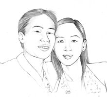 Husband and wife pencil portrait by Colin Wells