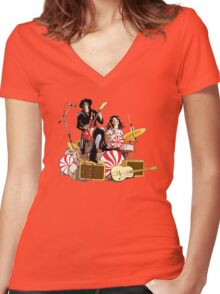 White Stripes Duo Women's Fitted V-Neck T-Shirt