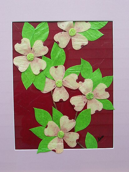 Dogwood Blossoms   11 x 14 Tissue Paper Artwork by PaperScenesbyAl