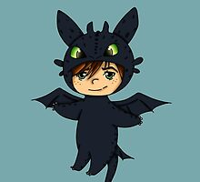 Hiccup in Toothless costume-How To Train Your Dragon chibi by rainbowcho