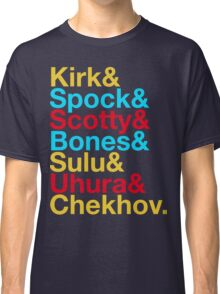 STAR TREK ORIGINAL  Mr. Spock Captain Kirk Uhura Sulu Mr. Chekhov Dr. Bones McCoy  Classic T-Shirt