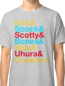 STAR TREK ORIGINAL  Mr. Spock Captain Kirk Uhura Sulu Mr. Chekhov Dr. Bones McCoy  Classic T-Shirt