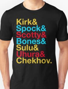 STAR TREK ORIGINAL  Mr. Spock Captain Kirk Uhura Sulu Mr. Chekhov Dr. Bones McCoy  T-Shirt