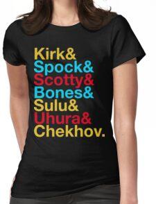 STAR TREK ORIGINAL  Mr. Spock Captain Kirk Uhura Sulu Mr. Chekhov Dr. Bones McCoy  Womens Fitted T-Shirt