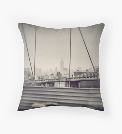 Staring at the Empire State Building Throw Pillow