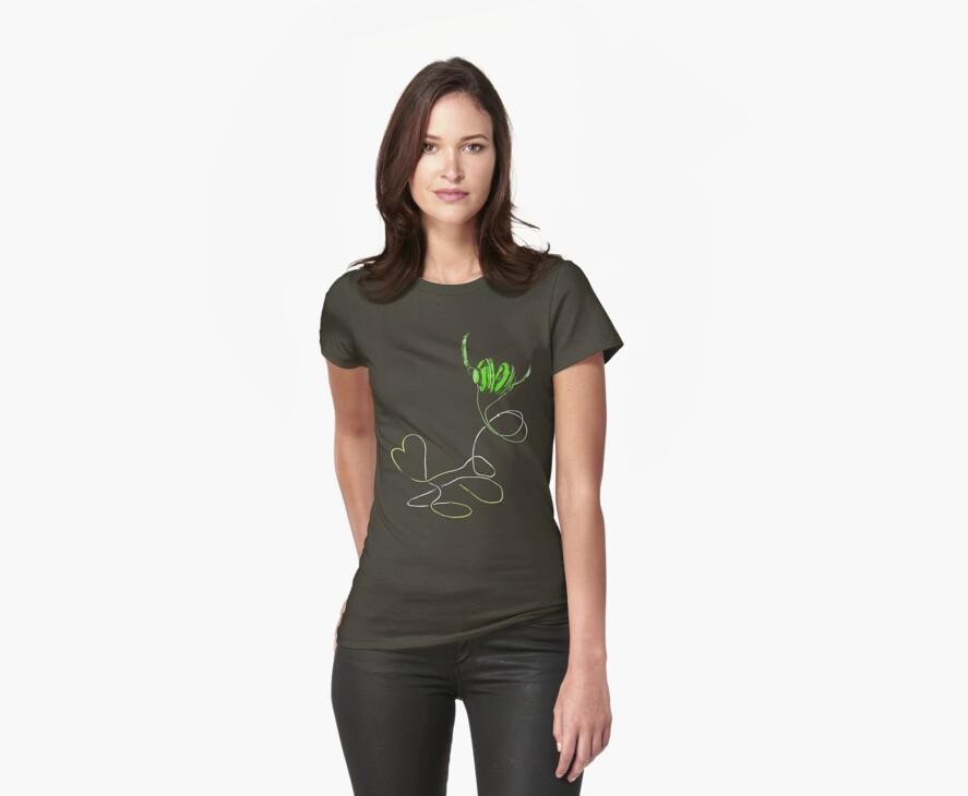 I Love Music in Green T-shirt by Midori Furze