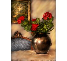 Geraniums on a Table Photographic Print