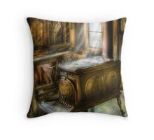 A warm cozy stove Throw Pillow