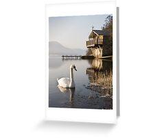 Swan on Ullswater in Winter Greeting Card