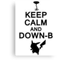 Keep Calm and Down-B Pikachu [Black] Canvas Print