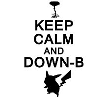 Keep Calm and Down-B Pikachu [Black] Photographic Print