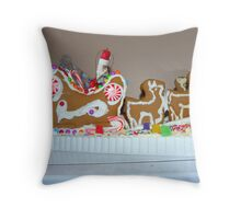 Gingerbread Santa and Reindeer Throw Pillow