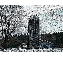 Silo In The Snow Color Engraving Photographic Print