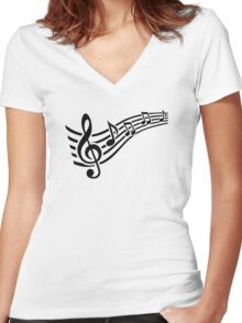 Notes music Women's Fitted V-Neck T-Shirt