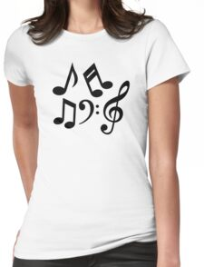 Music notes clef Womens Fitted T-Shirt