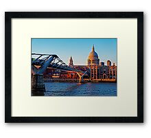 The Millennium Bridge and St Paul's Cathedral, London, England Framed Print