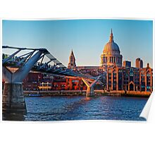 The Millennium Bridge and St Paul's Cathedral, London, England Poster