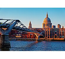 The Millennium Bridge and St Paul's Cathedral, London, England Photographic Print