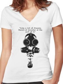 True Detective Gas Mask Women's Fitted V-Neck T-Shirt