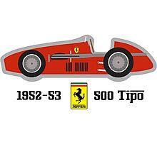 1952-53 Ferrari 500 Tipo, Double F1 championship winning car Photographic Print