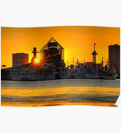 First sunrise of the New Year, 2009; Tokyo Bay, Japan Poster