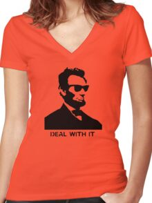 Cool Abe Lincoln - Deal With It (Clothing) Women's Fitted V-Neck T-Shirt
