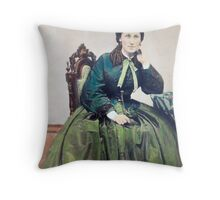 Lady in Green by Shew Throw Pillow