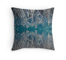 Ice Reflections Color Engraving Throw Pillow