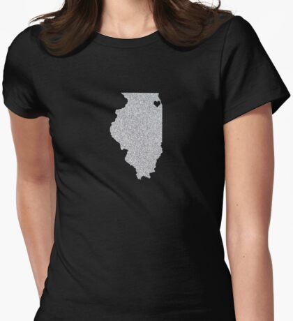 Chicago, IL Glitter State Womens Fitted T-Shirt
