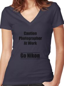 caution photographer at work 2 Women's Fitted V-Neck T-Shirt