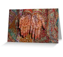The wonderfully decorated hands and clothes of an Indian bride Greeting Card