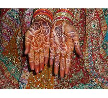 The wonderfully decorated hands and clothes of an Indian bride Photographic Print