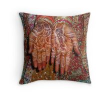 The wonderfully decorated hands and clothes of an Indian bride Throw Pillow