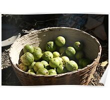 A basket full of green, fresh guavas Poster