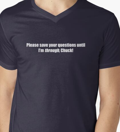 Pee-Wee Herman - Please Save Your Questions - White Font Mens V-Neck T-Shirt