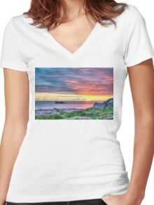 Sunset in France Women's Fitted V-Neck T-Shirt