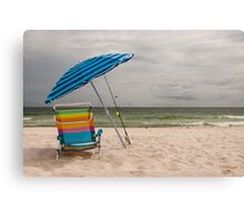 Beach Umbrella and Chair Canvas Print