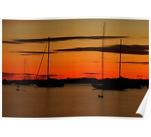 Sailboat Silhouettes at Sunset Poster