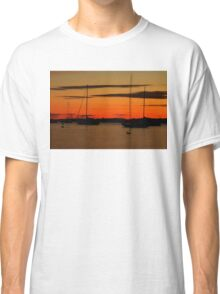 Sailboat Silhouettes at Sunset Classic T-Shirt