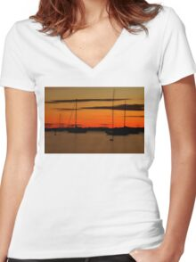 Sailboat Silhouettes at Sunset Women's Fitted V-Neck T-Shirt