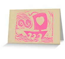 Love Sail...Boat in pink Greeting Card