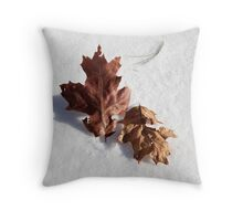 Leaves on Snow Throw Pillow