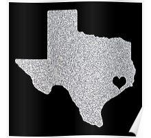 Houston, TX Glitter State Poster