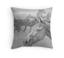 Horse Montage II Throw Pillow