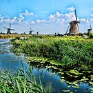 The Windmills of Kinderdijk village, Netherlands by vadim19