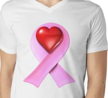Breast Cancer Awareness Pink Ribbon Heart Mens V-Neck T-Shirt