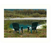 Two Chairs On The Riverbank Art Print