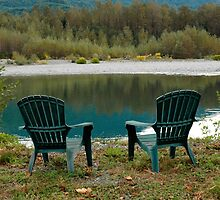 Two Chairs On The Riverbank by The Accidental Farmers