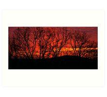Red Sunrise Over the Ozarks Art Print