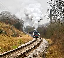 Steam Locomotive approaching Haworth by Steve  Liptrot